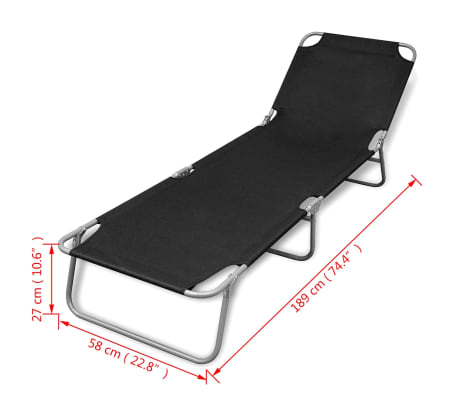 vidaXL Folding Sun Lounger Powder-coated Steel Black[6/6]