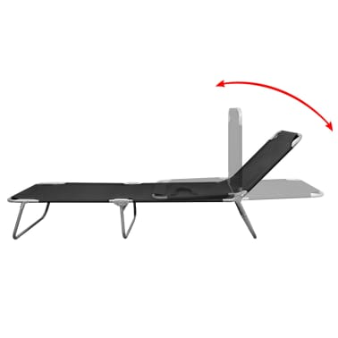 vidaXL Folding Sun Lounger Powder-coated Steel Black[3/6]