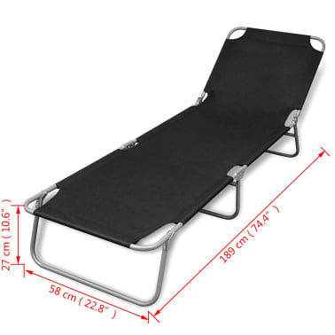 vidaXL Foldable Sunlounger with Adjustable Backrest Black[6/6]