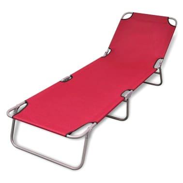 vidaXL Chaise longue pliable Acier enduit de poudre Rouge[1/6]