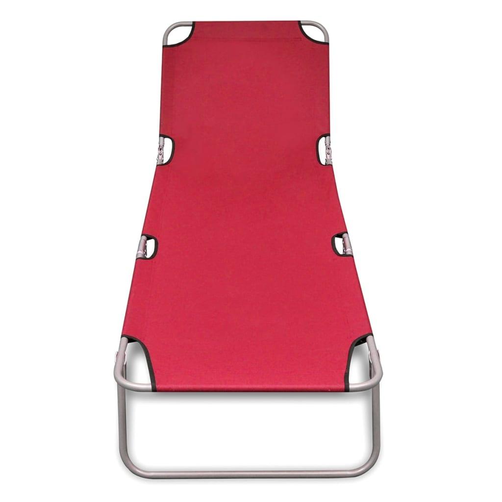 vidaXL Ligbed inklapbaar gepoedercoat staal rood