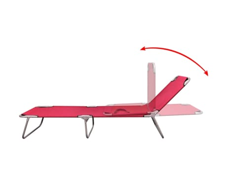 vidaXL Chaise longue pliable Acier enduit de poudre Rouge[3/6]