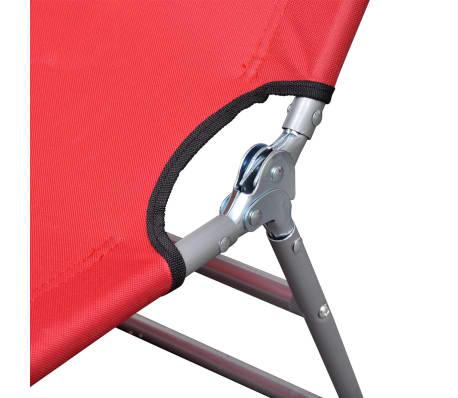 vidaXL Chaise longue pliable Acier enduit de poudre Rouge[4/6]