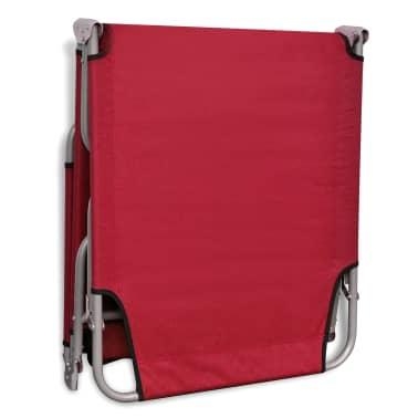 vidaXL Chaise longue pliable Acier enduit de poudre Rouge[5/6]