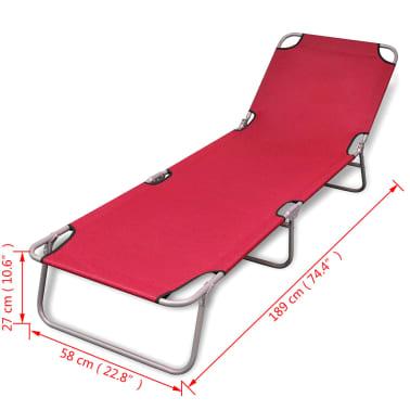 vidaXL Chaise longue pliable Acier enduit de poudre Rouge[6/6]