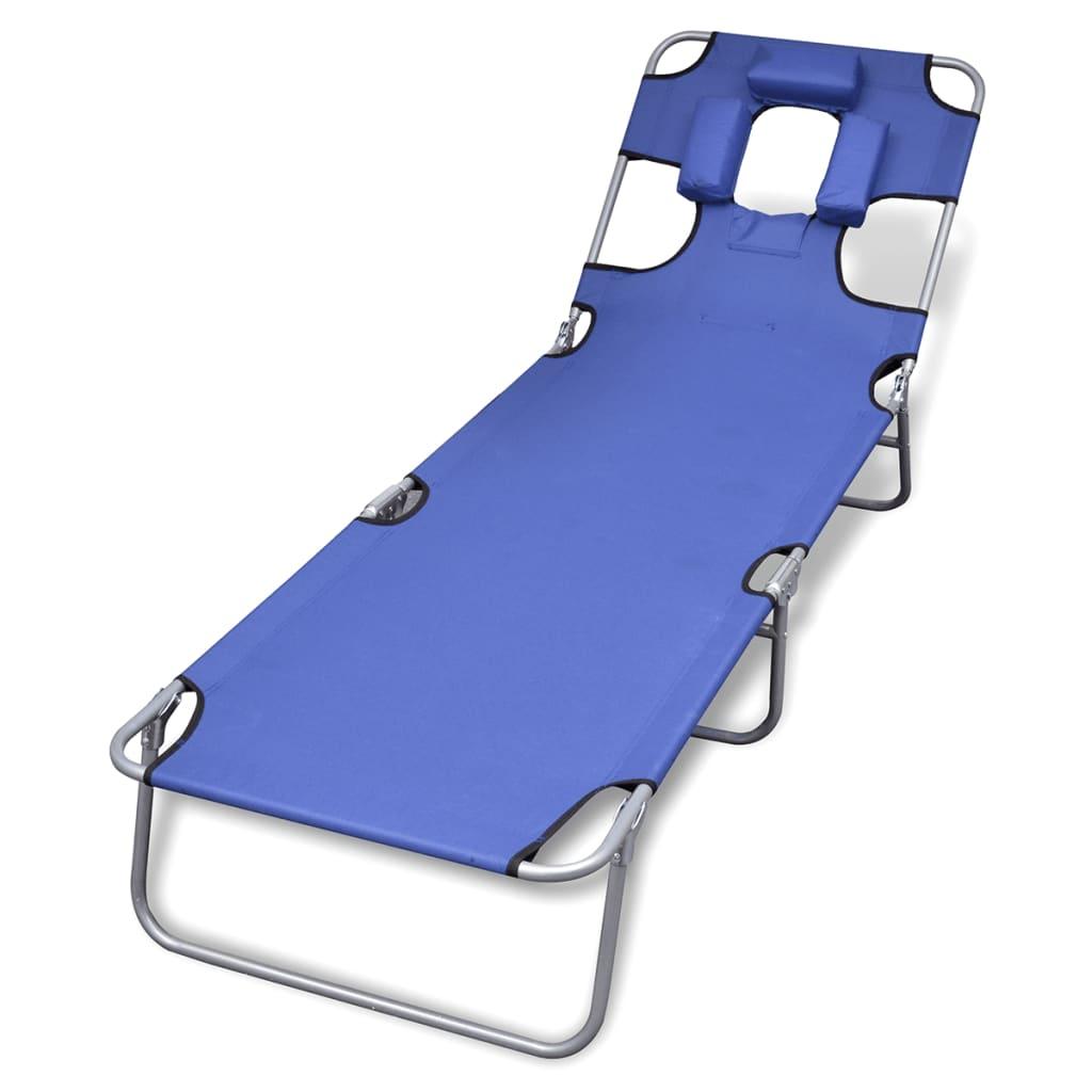 vidaXL Ligstoel met hoofdkussen en verstelbare rugleuning inklapbaar blauw