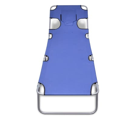 vidaXL Folding Sun Lounger with Head Cushion Powder-coated Steel Blue[2/7]