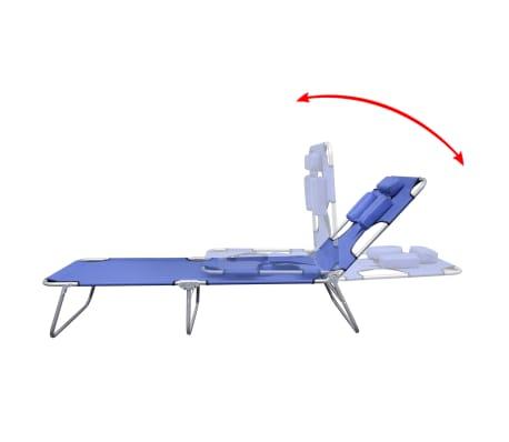 vidaXL Folding Sunlounger with Head Cushion Adjustable Backrest Blue[3/7]