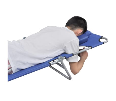 vidaXL Folding Sun Lounger with Head Cushion Powder-coated Steel Blue[4/7]