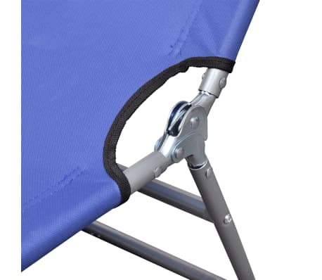 vidaXL Folding Sun Lounger with Head Cushion Powder-coated Steel Blue[5/7]