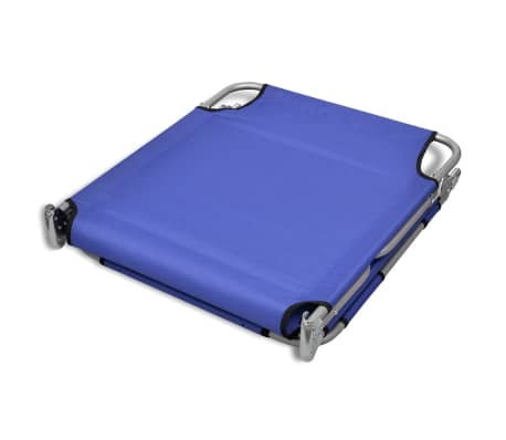 vidaXL Folding Sun Lounger with Head Cushion Powder-coated Steel Blue[6/7]