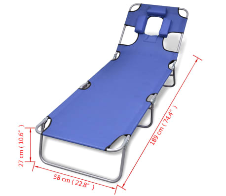 vidaXL Folding Sun Lounger with Head Cushion Powder-coated Steel Blue[7/7]
