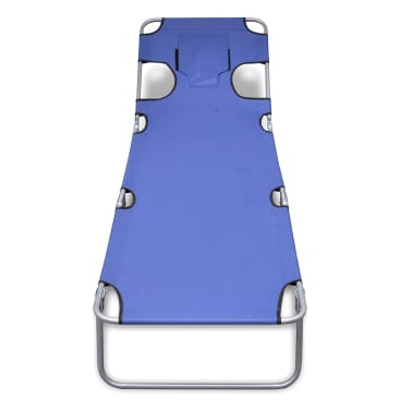 vidaXL Chaise longue avec coussin de tête Acier enduit de poudre Bleu[2/7]