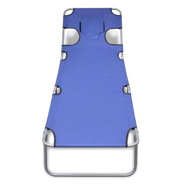 vidaXL Folding Sunlounger with Head Cushion Adjustable Backrest Blue[2/7]