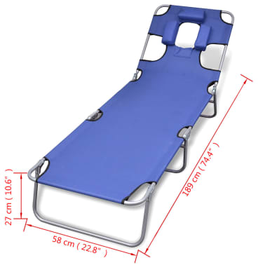 vidaXL Folding Sunlounger with Head Cushion Adjustable Backrest Blue[7/7]