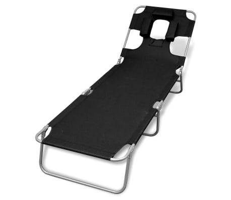 vidaXL Folding Sun Lounger with Head Cushion Powder-coated Steel Black[1/7]