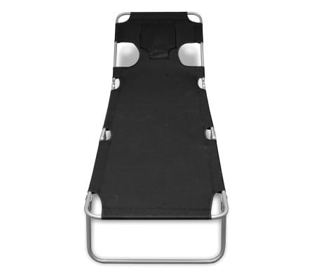 vidaXL Folding Sun Lounger with Head Cushion Powder-coated Steel Black[2/7]