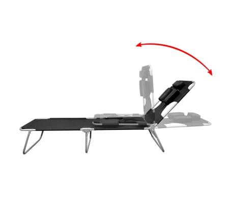 vidaXL Folding Sun Lounger with Head Cushion Powder-coated Steel Black[3/7]