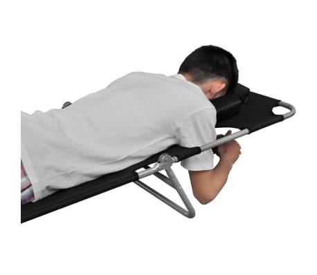 vidaXL Folding Sun Lounger with Head Cushion Powder-coated Steel Black[4/7]