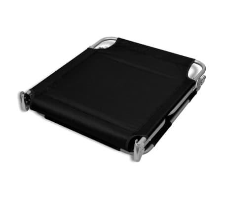 vidaXL Folding Sun Lounger with Head Cushion Powder-coated Steel Black[6/7]