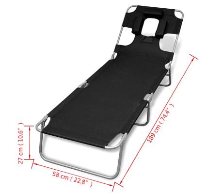 vidaXL Folding Sun Lounger with Head Cushion Powder-coated Steel Black[7/7]