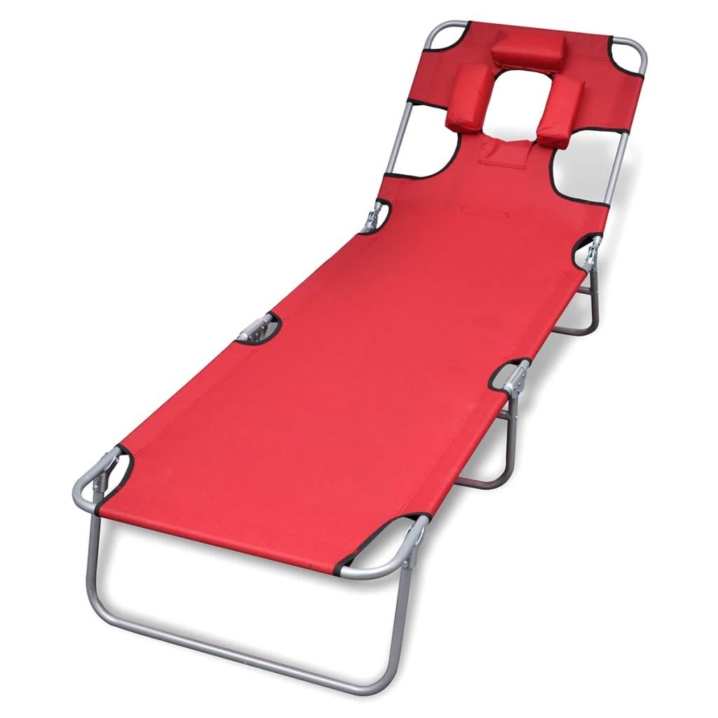 vidaXL Ligstoel met hoofdkussen en verstelbare rugleuning inklapbaar rood