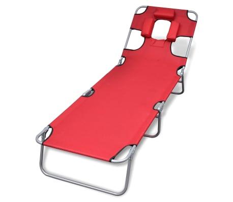 vidaXL Hopfällbar solsäng med huvudkudde pulverlackerat stål röd