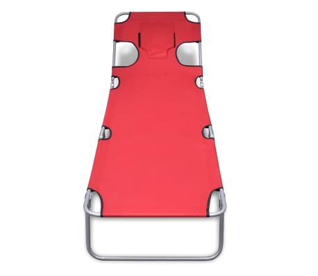 vidaXL Chaise longue avec coussin de tête Acier enduit de poudre Rouge[2/7]