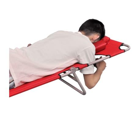vidaXL Chaise longue avec coussin de tête Acier enduit de poudre Rouge[4/7]