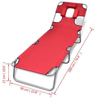 vidaXL Chaise longue avec coussin de tête Acier enduit de poudre Rouge[7/7]