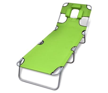 vidaXL Składany leżak z podgłówkiem, malowana stal, zielony