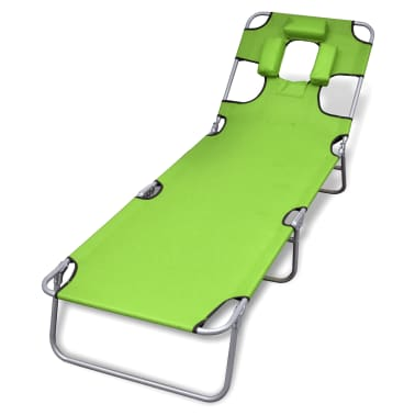 vidaXL Hopfällbar solsäng med huvudkudde pulverlackerat stål grön[1/7]