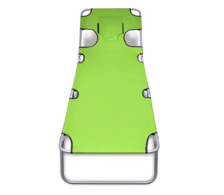 vidaXL Folding Sun Lounger with Head Cushion Powder-coated Steel Green[2/7]