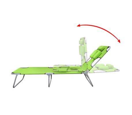 vidaXL Ligbed inklapbaar met hoofdkussen gepoedercoat staal groen[3/7]