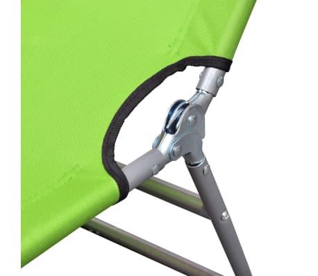 vidaXL Ligbed inklapbaar met hoofdkussen gepoedercoat staal groen[5/7]