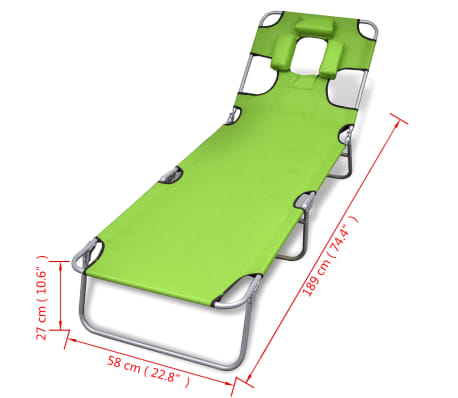 vidaXL Folding Sun Lounger with Head Cushion Powder-coated Steel Green[7/7]