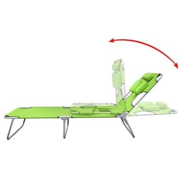 vidaXL Hopfällbar solsäng med huvudkudde pulverlackerat stål grön[3/7]