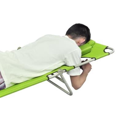 vidaXL Hopfällbar solsäng med huvudkudde pulverlackerat stål grön[4/7]