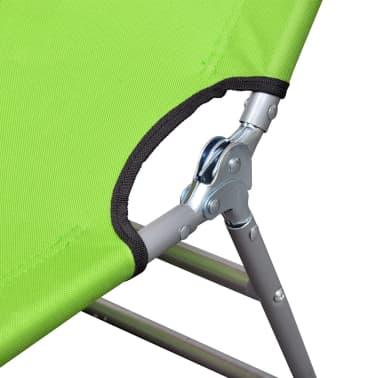 vidaXL Hopfällbar solsäng med huvudkudde pulverlackerat stål grön[5/7]