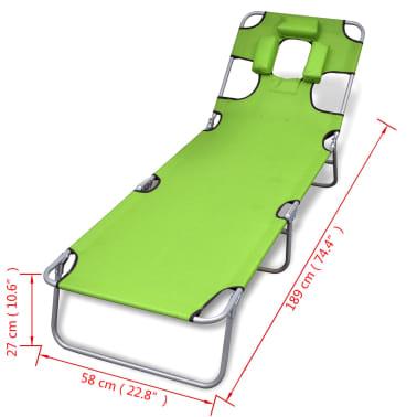 vidaXL Hopfällbar solsäng med huvudkudde pulverlackerat stål grön[7/7]