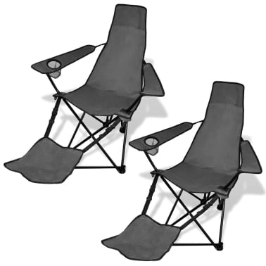 2 pcs Foldable Camping Chair with Footrest Grey[1/6]