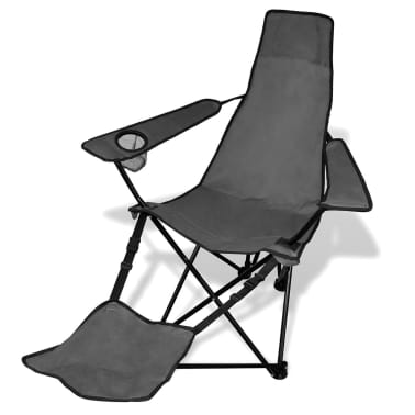 2 pcs Foldable Camping Chair with Footrest Grey[2/6]