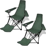 2 pcs Foldable Camping Chair with Footrest Dark Green