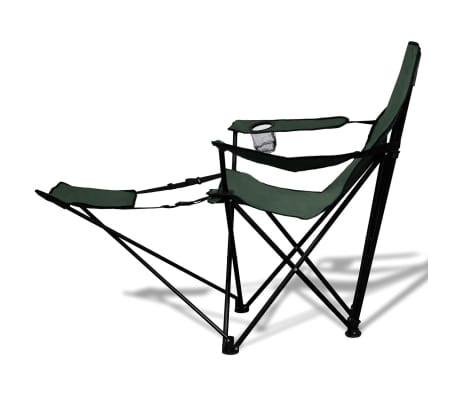 2 pcs Foldable Camping Chair with Footrest Dark Green[3/6]