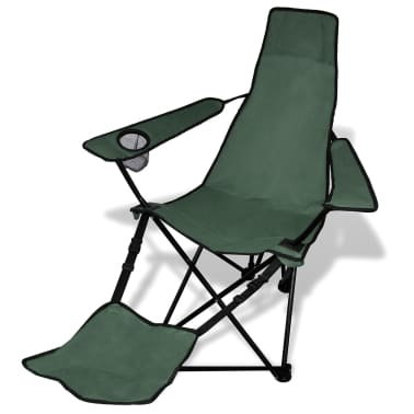 2 pcs Foldable Camping Chair with Footrest Dark Green[2/6]