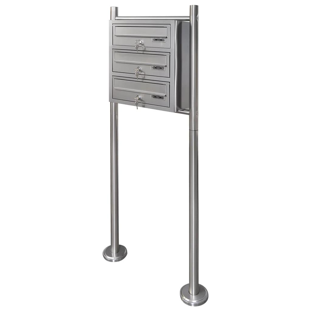 Trojnásobná poštovní schránka na stojanu z nerezové oceli