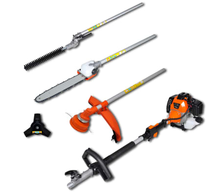 vidaXL 4-in-1 Multi-tool Hedge&Grass Trimmer, Chain Saw, Brush Cutter