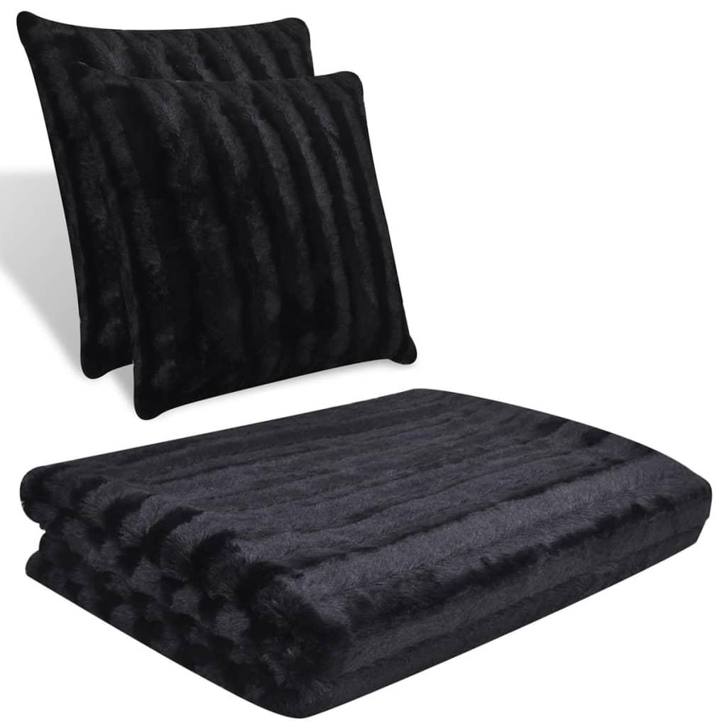 Černá deka z umělé kožešiny a polštář 2 ks (130307 + 130310)
