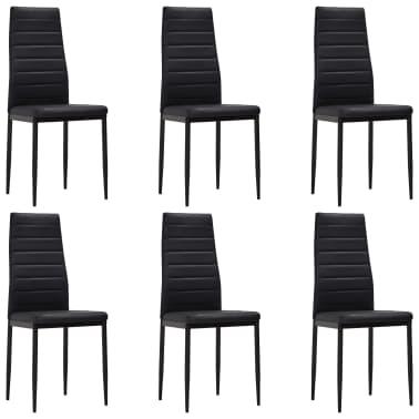 vidaXL Chaise de salle à manger 6 pcs avec ligne fine Noir[2/8]
