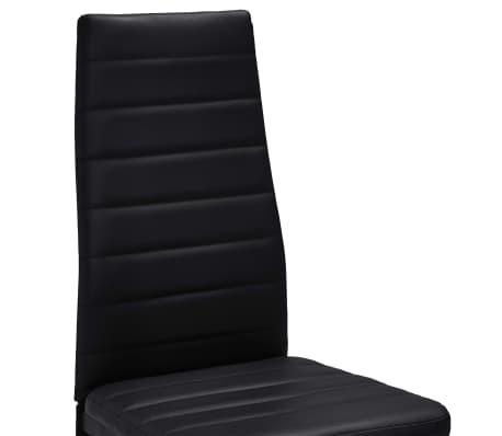 vidaXL Chaise de salle à manger 6 pcs avec ligne fine Noir[6/8]